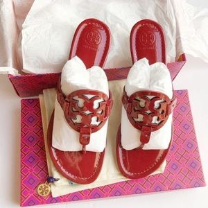 Tory Burch Miller Dark Red Sandals Size 9 Like New